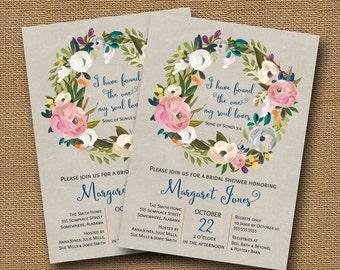 Floral Bridal Shower Invitation | Watercolor Wreath | Christian Shower, Rehearsal Dinner | Printable Scripture Invitation | DIY PRINTABLE
