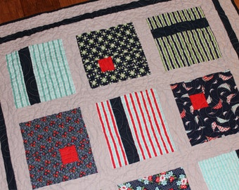 Modern Baby Quilt made with Daysail Fabric by Bonnie and Camille