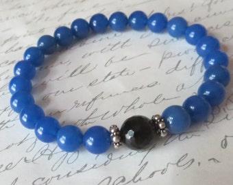 Blue Onyx, Black Tourmaline and Sterling Silver Unisex Stretch Bracelet