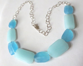 Aqua Blue Chalcedony Sterling Silver Caribbean Necklace