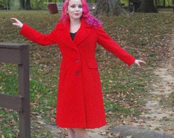 Vintage Red Jacket Princess Coat Wool Swing Coat Petite Fall Fashion