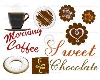Coffee sweet Chocolate clipart set, digital graphic instant download clipart for scrapbooking craft clipart 3d white chocolate frosting