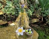 Handmade Ostara Goddess Altar Piece With Hare, Nest & Eggs . Original Positively Pagan Design.