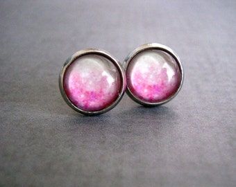 Ombre Pink Stud Earrings : Glass Photo Jewelry