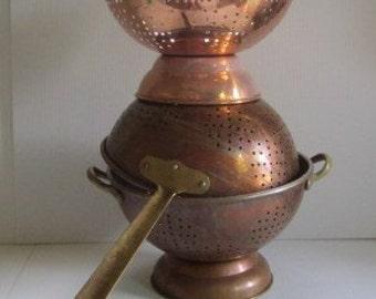 Vintage Copper Colander Strainer Lot