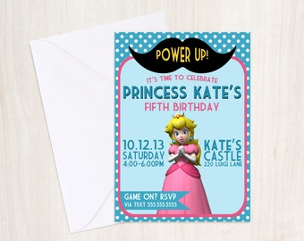 Princess Peach Birthday Party Invite - Princess Peach Party -  Girls  - Mario - Party Supplies