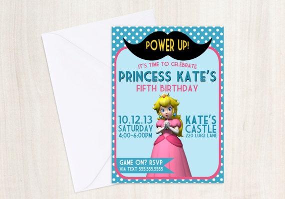 Princess Peach Birthday Party Invite - Princess Peach Party -  Girls  - Mario - Party Supplies