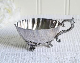 Footed creamer, vintage Swedish milk pitcher, tarnished silver, home decoration