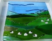 Fused Glass Irish Landscape - Sheep Grazing - Signed and dated Framed Kiln-Formed Glass Art