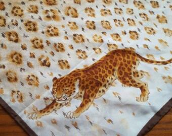 Vintage Animal Print Scarf Cheetah Jaguar Women's Accessory Neck Scarf Head Scarf Square