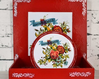 Decorative - serving - display tray - cake stand - box - set - red - vintage roses - decoupage - handmade