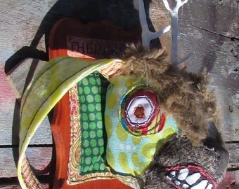 Faux Taxidermy stuffed Jackalope head mount handmade art