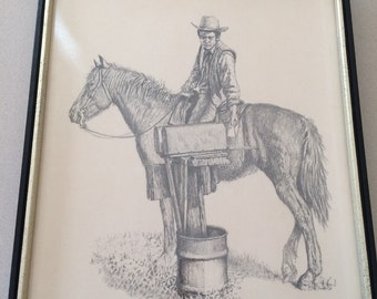 "Vintage Jim Daly Sketch Print ""Mail At Last"" Cowboy On Horse Western Framed Art American Artist"