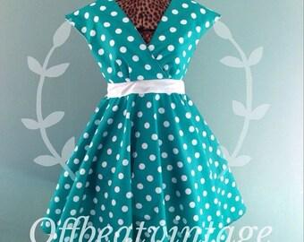 ON SALE Womens Teal and White Polka Dot Dress Vintage Inspired Cap Sleeve Full Skirt size Large