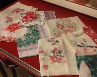 Hankies Cotton Vintage Set of Nine Flowered