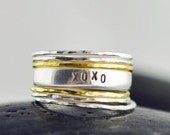 Valentines Day Gift Hand Stamped Ring, Personalized stacking ring,eternity ring, hammered stacking rings