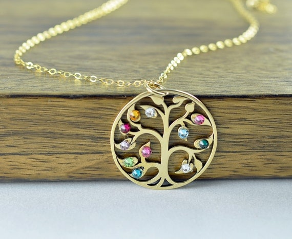 gold family tree necklace mother 39 s necklace birthstone. Black Bedroom Furniture Sets. Home Design Ideas
