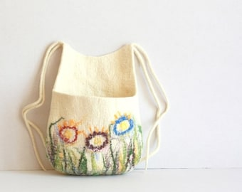 SALE Hanging basket, toys organizer, felted wool bag, natural white with colorful flowers hanging bag - Weddings gift