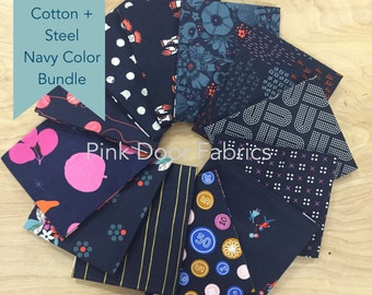 Cotton + Steel - Limited Edition Cotton + Steel Navy Color Half Yard Bundle (CSNAVYHY) - 12 prints