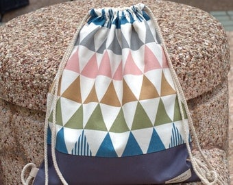 Drawstring backpack/ Cotton backpack/ Drawstring bag/ handmade backpack/ Gym bag/ Swim bag ~ Triangular pattern (B36)