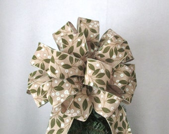 Christmas Bow, Holly Bow, Burlap Bow, Green Bow, Tree Topper Bow