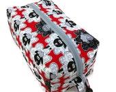 Knitting Project Bag - Small, Zippered Box Bag, Sheep to Sheep on Red, Zippered Project Bag, Knitting Bag, Crochet Bag, Spindle Bag