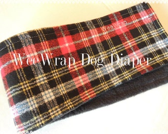 Dog Diaper Belly Band, End Marking, Plaid Flannel, Male Dog, Personalized