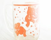 Mug- Hazel Atlas Pink Dancing Elephant glass beer mug with finger imprint mug