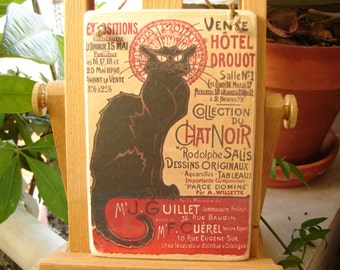 Chat noir, French shabby chic advertising image on wooden tag, dresser, door hanger, french typography