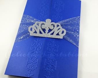 50 Blue Princess Invitations - Quinceañera, Sweet 16, birthday party invitations.