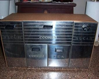 Vintage Garner Ware Chrome Canister Set....