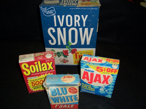 Vintage boxes of ivory snow soilax ajax and blue by for Soil x cleaner