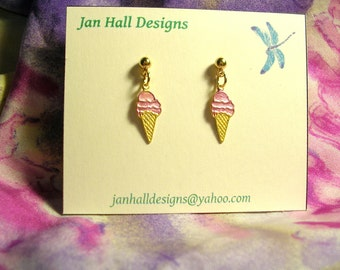 Yummy  Ice Cream Cone Earrings. Hypoallergenic.