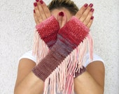 Fingerless Gloves, Knit Fingerless gloves, colorful bohemian style , tribal style, fringed, Long knit gloves, Boho knit glove mittens,