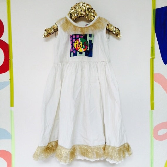 SPRING 3-4 Years Kids Vintage Children's Babies Cotton Dress Upcycled