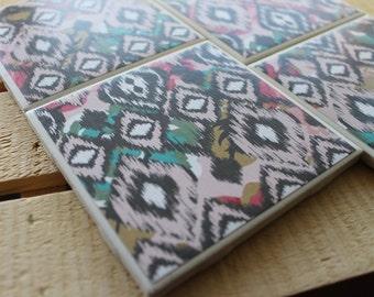 Tribal Chevron Four Piece Ceramic Tile Coaster Set