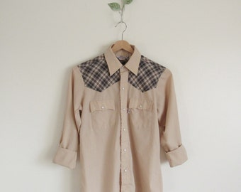 Vtg 70s Levi's Two Tone Pearl Snap Western Shirt • Cowboy Cowgirl Plaid Snap Front Shirt - S/M