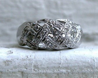 Sparkly Wide Vintage 14K White Gold Diamond Wedding Band - 1.33ct.