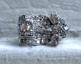 Vintage Art Deco 14K White Gold Diamond Wedding Band Engagement Ring - 2.60ct.