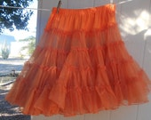 Vintage Orange Crinoline Petticoat Slip Rockabilly, Square Dancing Slip