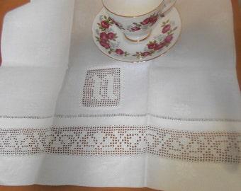 Vintage Tea Towel With Monogram N, Antique Linen Towel