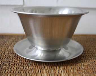 Vintage Danish bowl, Stelton, stainless steel bowl, brushed metal bowl, Danish design, Scandinavian design