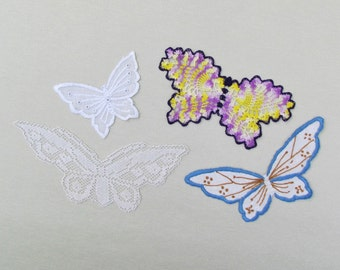 Lot of 4 vintage butterfly appliques, lace and embroidered appliques, butterfly appliques for craft and needlework projects
