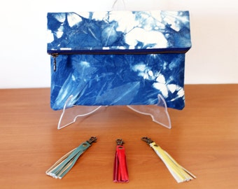 Indigo boho clutch with bright tassels, naturally handdyed handbag, shibori foldover pouch with metal antique brass zipper. Ready to ship