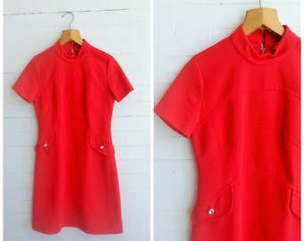 1960s red vintage dress. red mod dress. size small