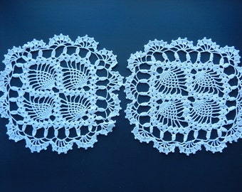 "Antique Square Doilies - Crocheted Doilies - Pair of White Doilies - Vintage Linens - 9"" Doilies - Handmade Doilies - Doilies for projects"