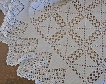 Hand crocheted French bedcover vintage white bed spread