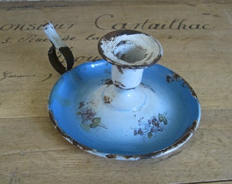 French enamel candle holder with blue flowers - rustic French country style