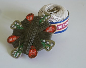 French linen thread spool and card vintage haberdashery