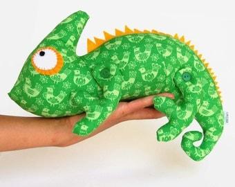 Chameleon toy - - unique gift - stuffed animal - soft toy iguana - soft toy lizard - veiled chameleon - gift for kids - plush chameleon